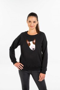 Women's Black Sweatshirt with Bullterier