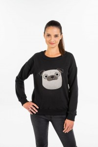 Women's Black Sweatshirt with Pug