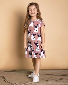 Frenchie dress, dusty rose