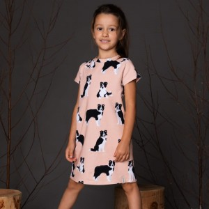 Border Collie dress, peach